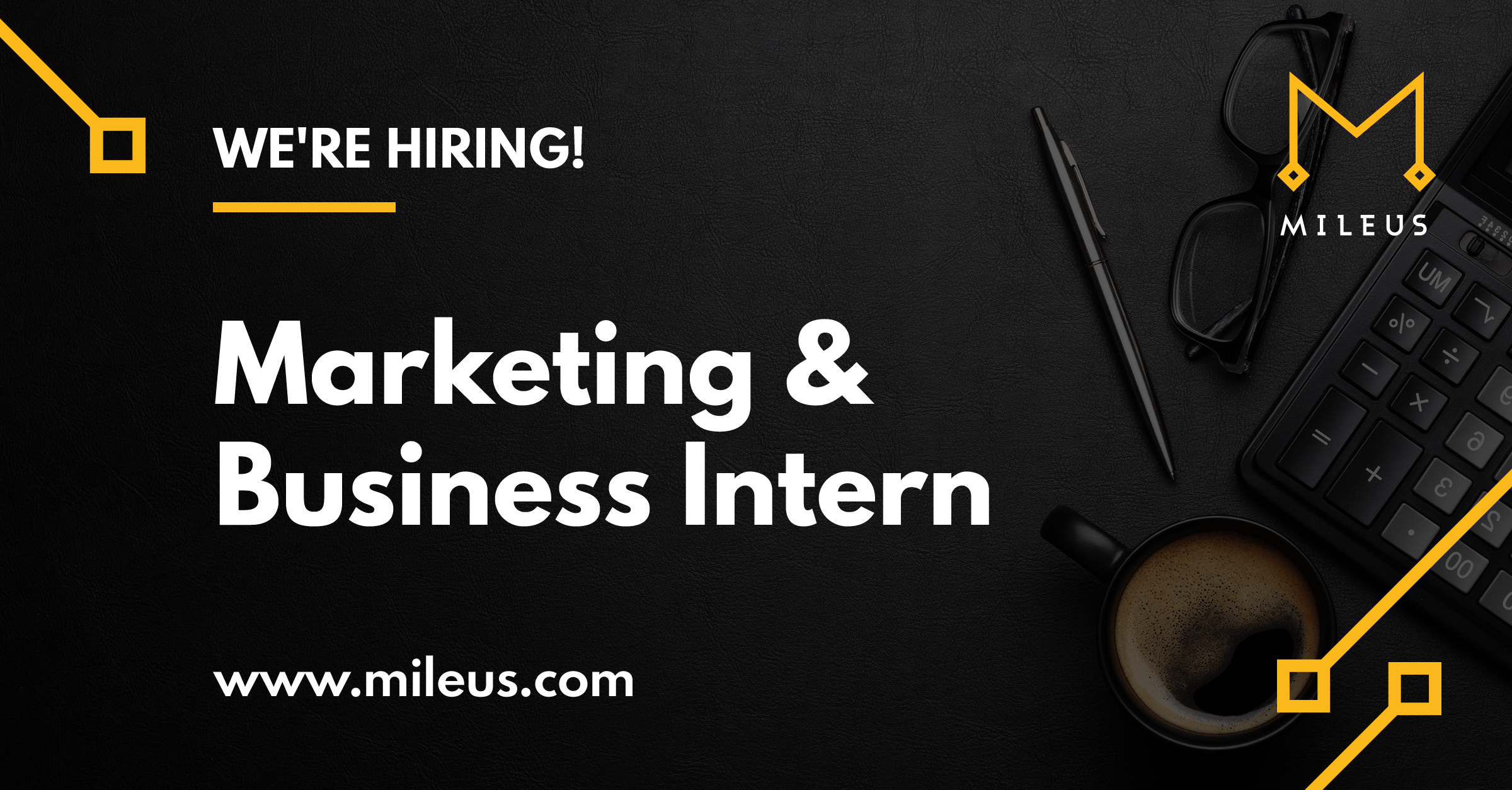 Hiring graphic image for the role of marketing & business intern