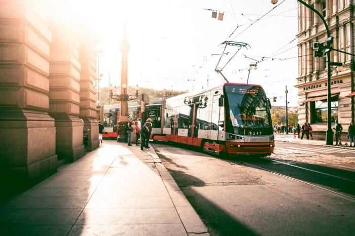 A tram in Prague