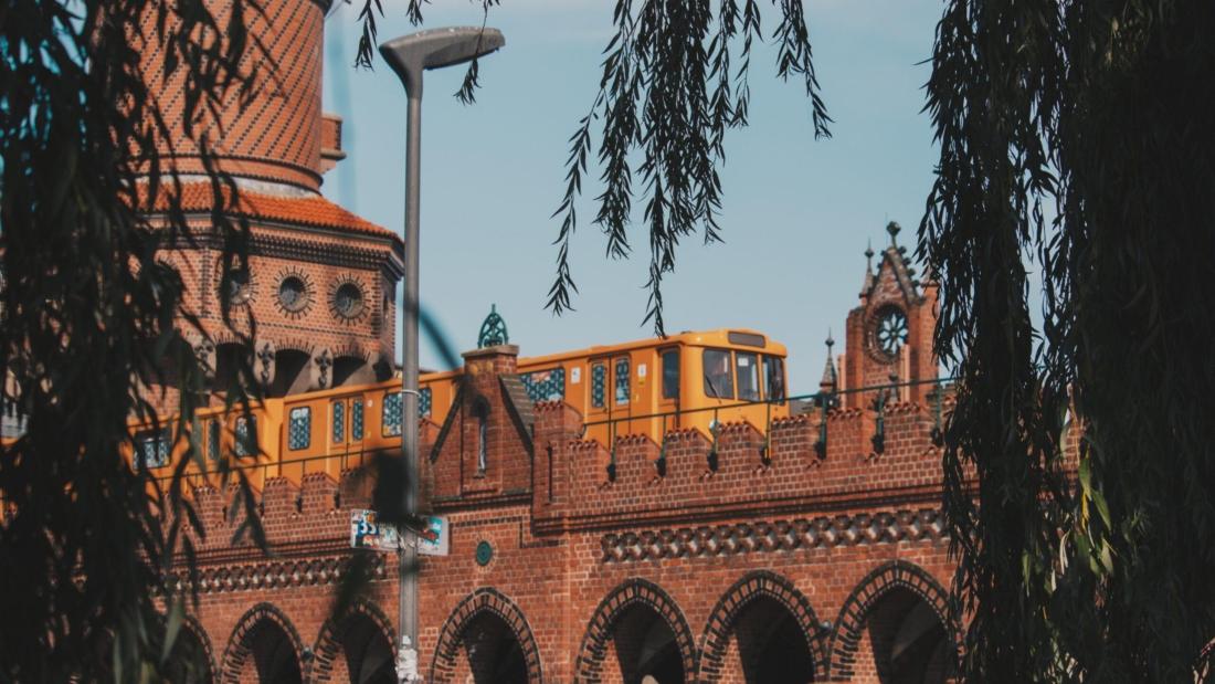 A photo of a train on the bridge
